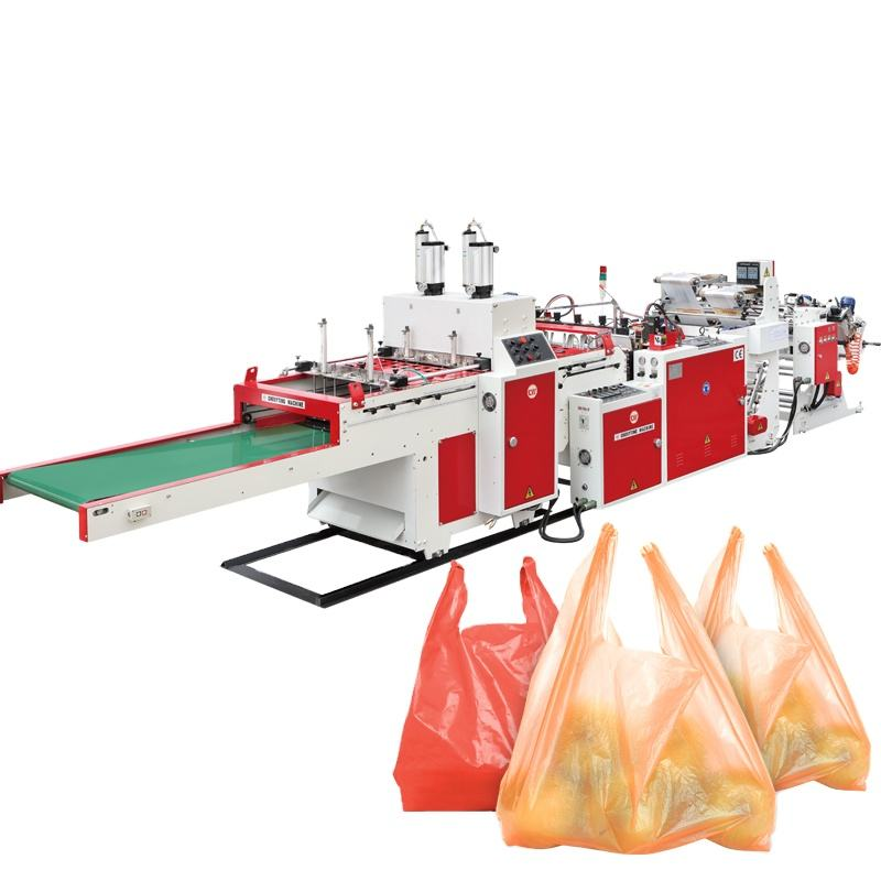 factory price automatic Plastic PE supermarket handle carrier vest tshirt trash bag machine t shirt shopping bag making machine