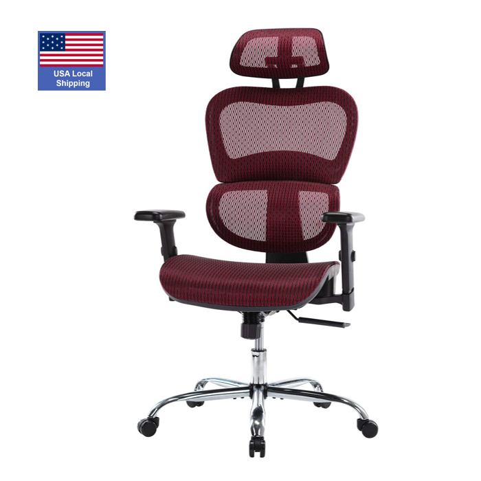 USA STOCK Red mesh office chairs high back ergonomic Adjustable Swivel office chair with 3D Adjustable Armrests
