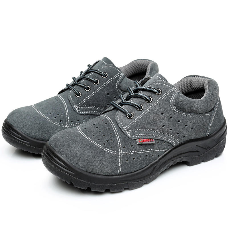 Leather Breathable Wear-Resistant Steel Toe Anti-Smashing Work Safety Shoes