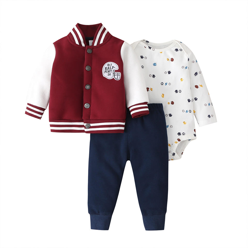 Amazon Hot Koop Baseball Uniform Stijl <span class=keywords><strong>Baby</strong></span> Boy Kleding Driedelige Set