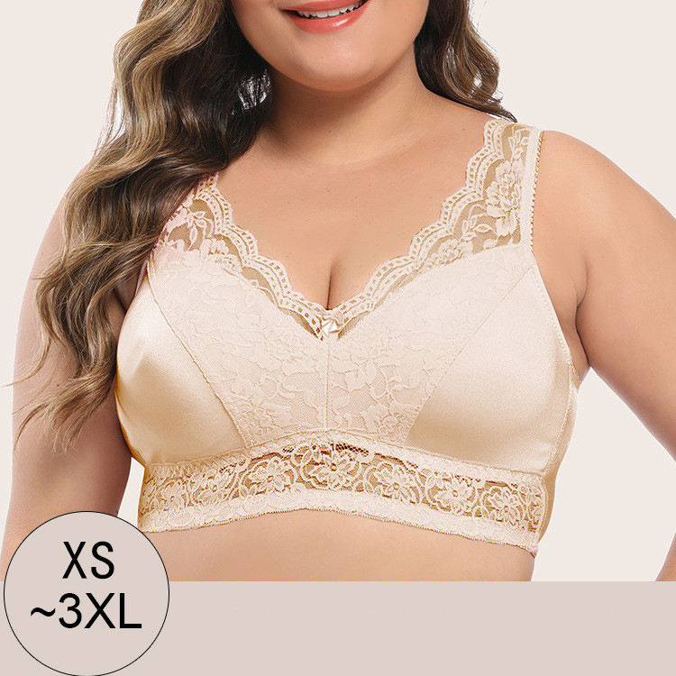 Ladies Comfortable Lace Brassiere Underwear Wireless Plus Sizes Women Bra