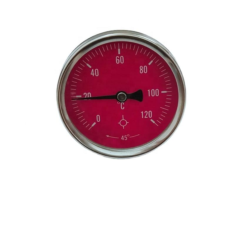red dial with 0-120c bACK Bimetal industrial thermometer
