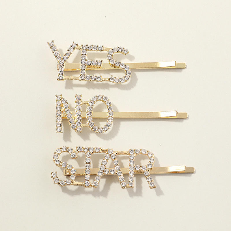 Metal Hair Clip YiYi Shining High Quality Crystal Girls Hair Clip Metal Hair Clip Elegant Letter Women Hair Accessories For Girls