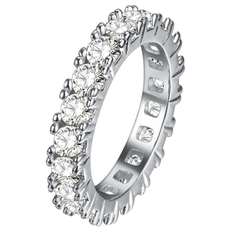 RINNTIN OR31 Cubic Zirconia Eternity Ring Designs For Female Diamond Wedding Band
