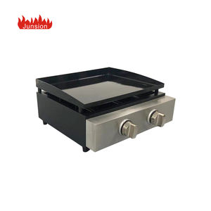 CE Certificates Portable Tabletop 2 Burners Propane LPG Plancha Barbecue Flattop Gas BBQ Grill
