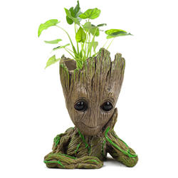 Factory Price Cartoon Polyresin Cute Treeman Groot Flower Pot Molds For Green Plant