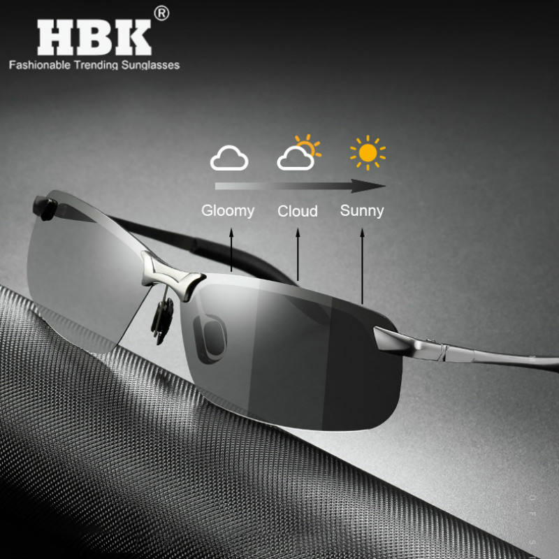 PM0216 Vintage Color Changing Sun Glasses Fishing Polarized Photochromic Sunglasses for Men