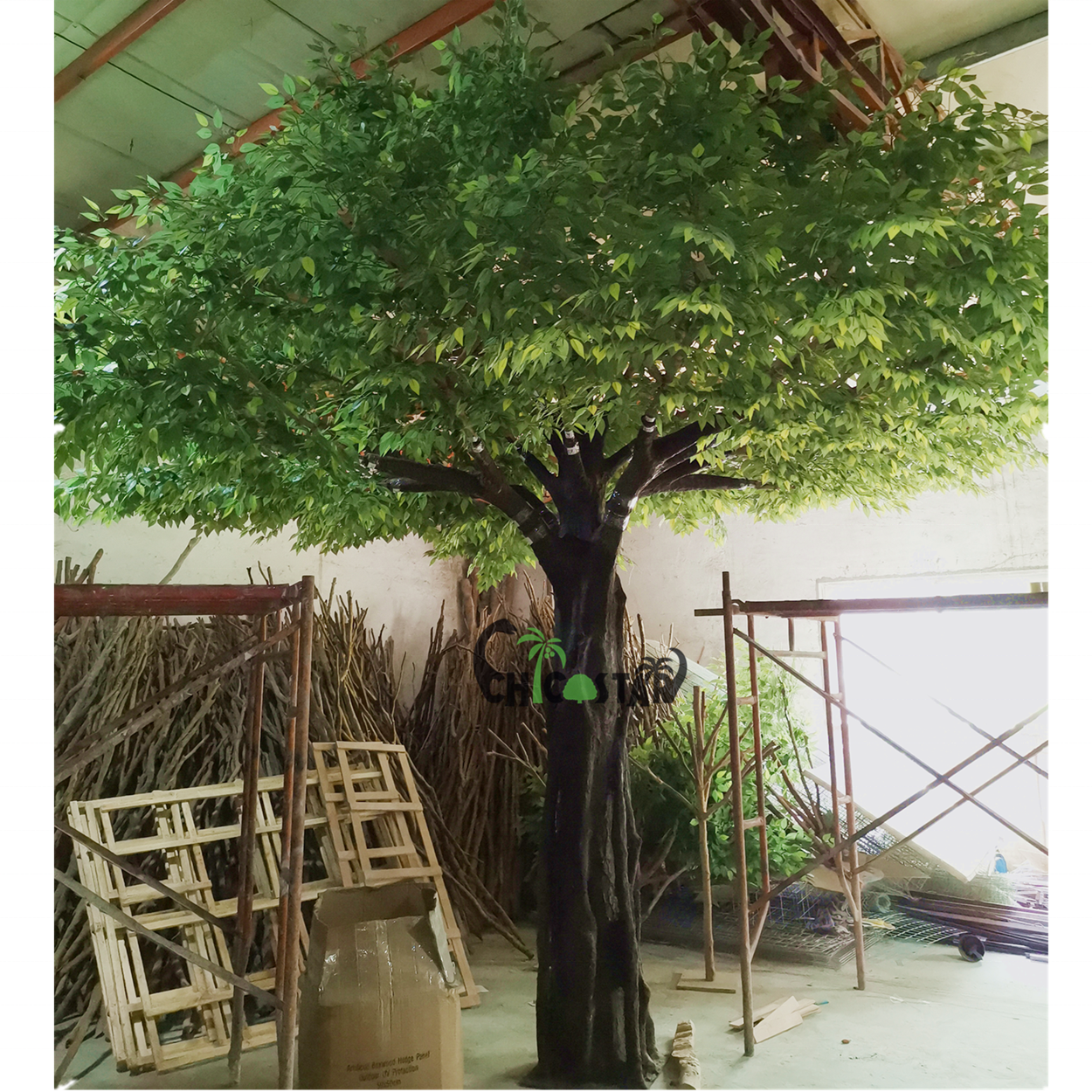 Garden/resturant decoration simulation fiberglass artificial large banyan tree hot selling