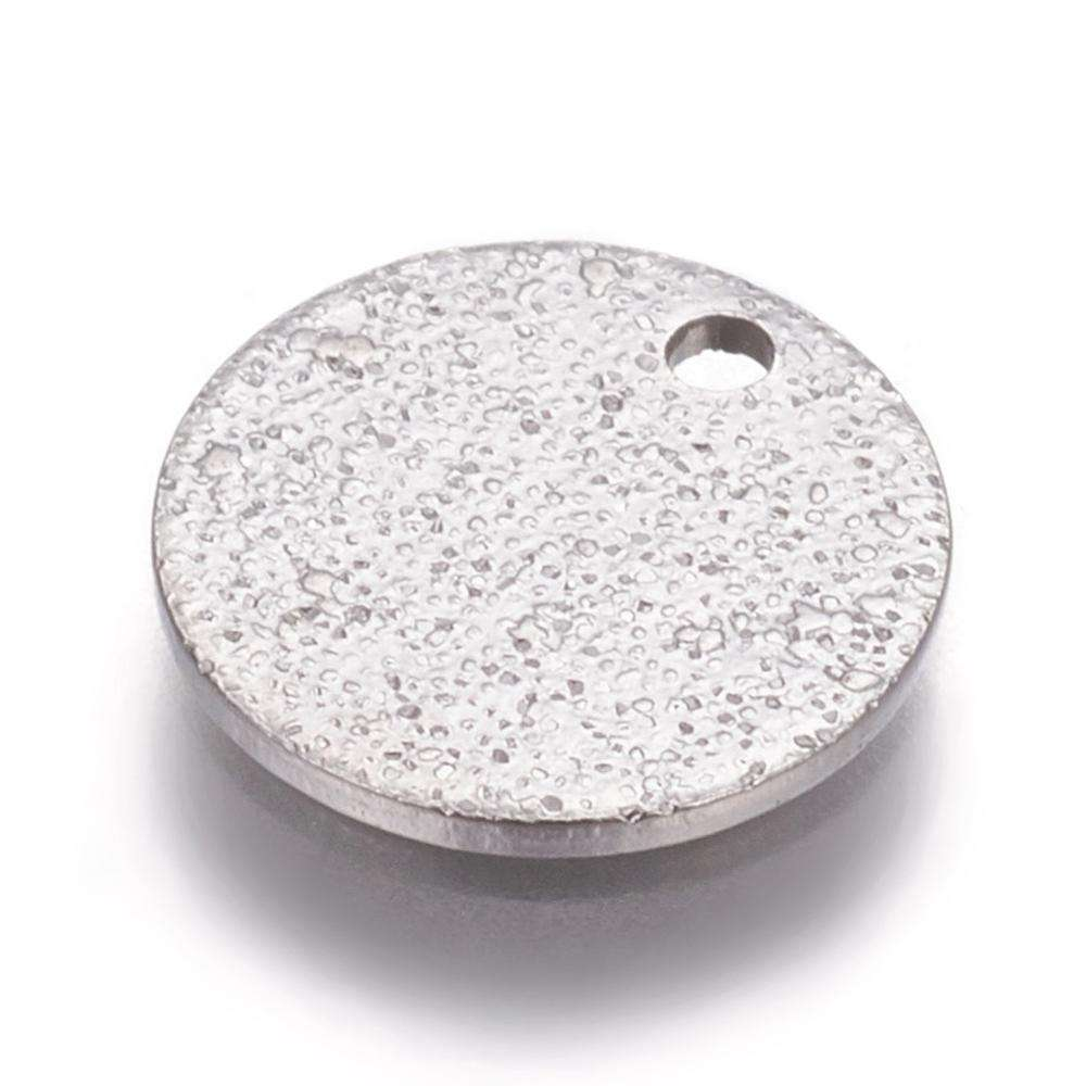 PandaHall Stainless Steel Textured Pendants Vacuum Plating Flat Round Platinum 10x1mm Hole 1.2mm