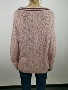 Plain Pink Pullovers Tops Sweater New Pure Long Sleeve Wool Cashmere Jacquard V Neck Winter Knit Women Sweater