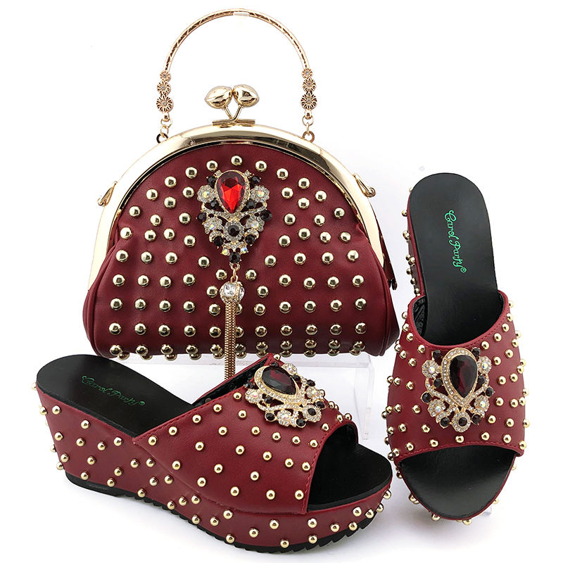 2020 mode 7.5 pouces chaussures africaines et sacs assortis femmes robe Taille 38-42