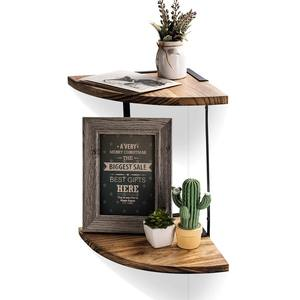 Wall Mounted Black Metal Semicircular Design 2-Tier Corner Wooden Shelf Floating Wall Save space