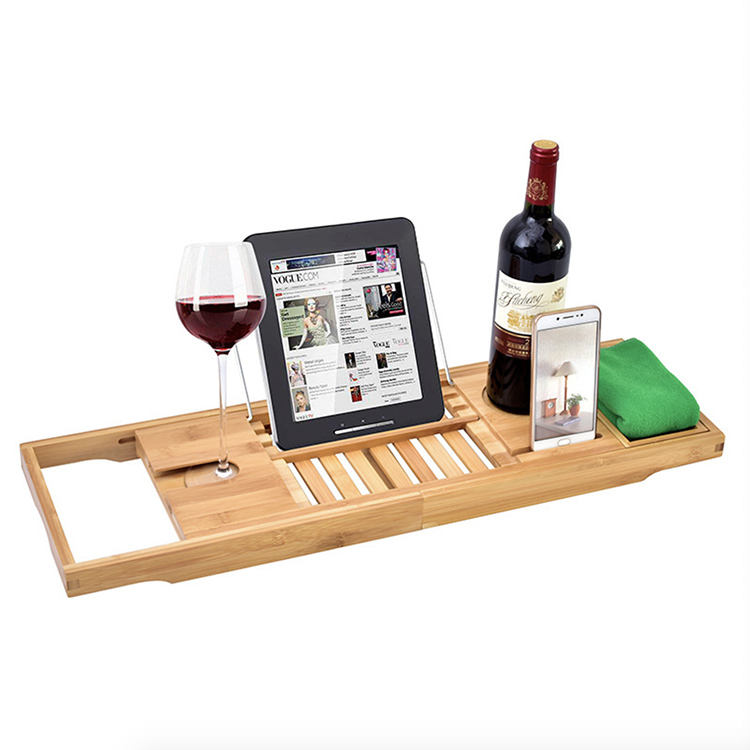 Bamboo Bathtub Caddy Tray - Adjustable Bath Tub Organizer with Wine Holder, Cup Placement, Soap Dish, Book Slot