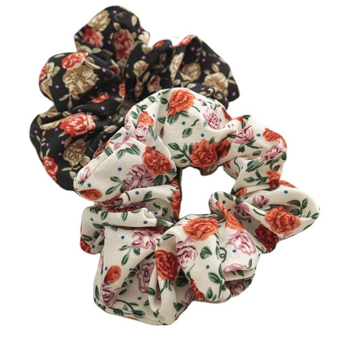 Wholesale Large intestine circle scrunchies Floral flower series Girl's headdress elastic hair bandss braid scrunchie strap