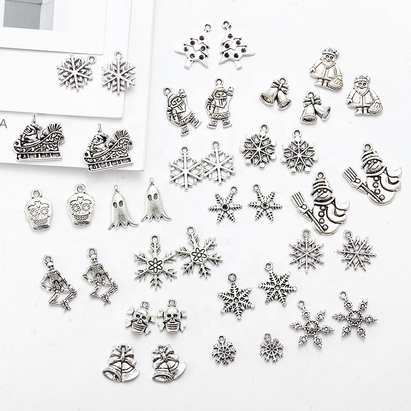 Fashion Tibetan Silver Mixed Types Christmas Charms Trees Snowflakes Santa Claus Pendants Diy Fit Diy Jewelry Findings Make OEM