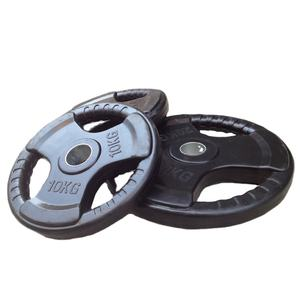 Wholesale Tri Grip Black Rubber Coated Weight Plate