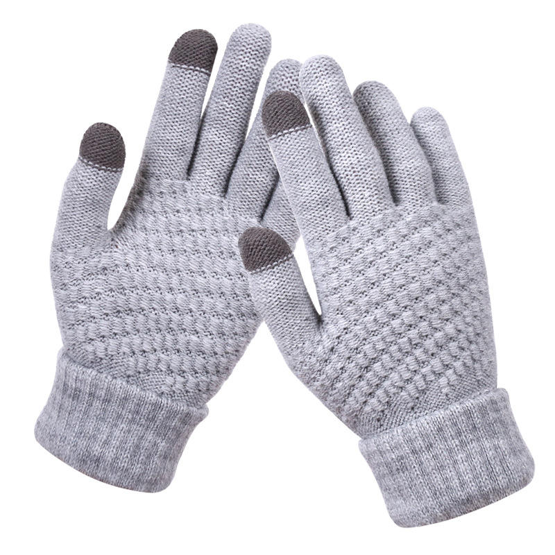 Winter Touch Screen Gloves Warm Stretch Knit Mittens for women men Imitation Wool Full Finger Guantes