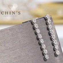 CHIN'S 0.56ct luxury custom real diamond jewelry elegant long drop earrings for women
