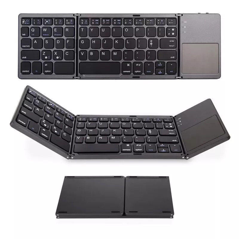 Bluetooth Keyboard, Foldable and USB Wired Rechargeable Mini BT Wireless Keyboard with Touchpad Mouse for Android, Windows, PC