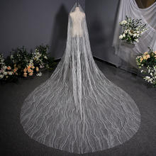 Pure white bridal veil crystals long trailing veils