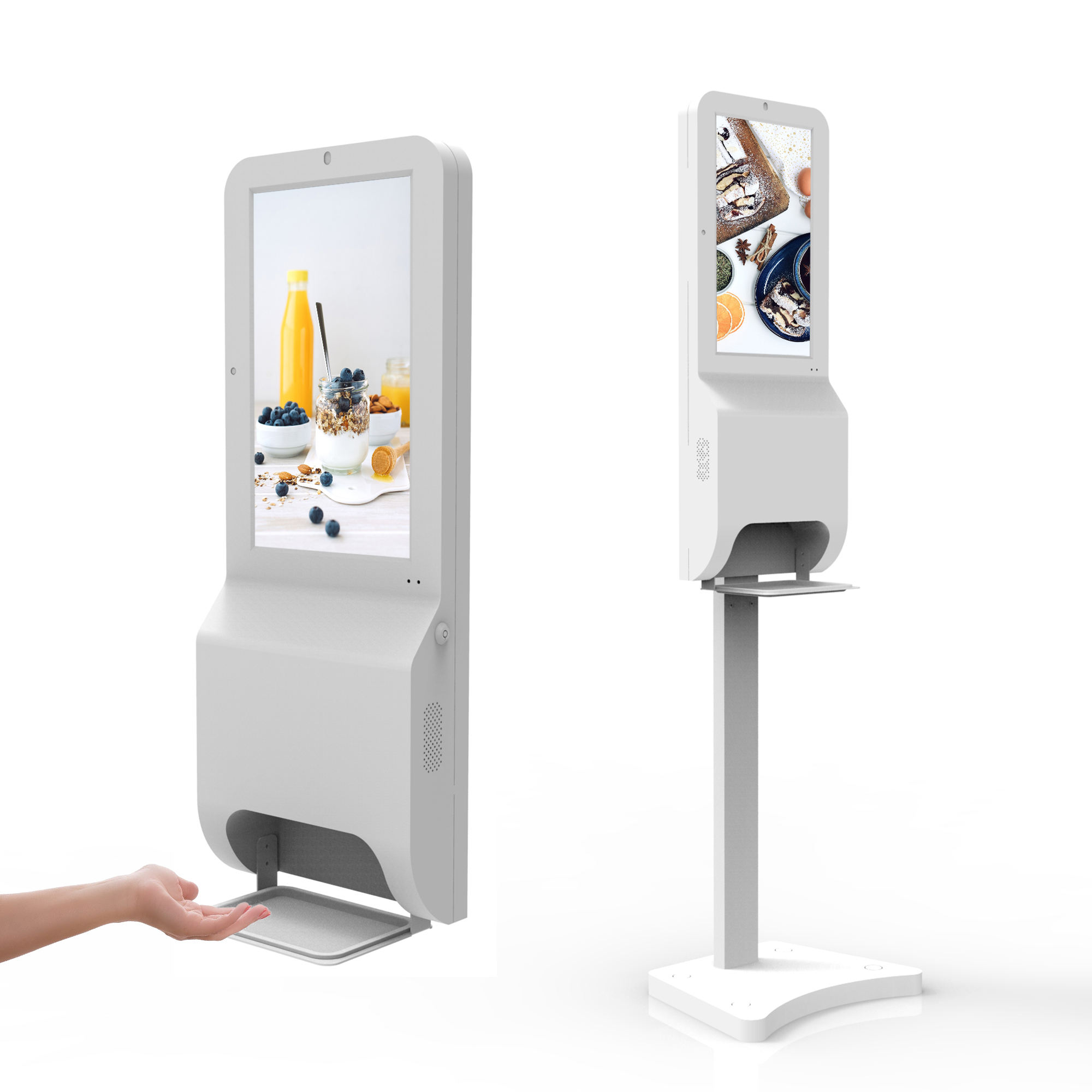 21.5 inch floor stand digital signage with hand sanitizers dispenser