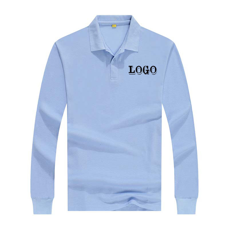 wholesale cheaper mens long sleeve polo t shirt with printed logo