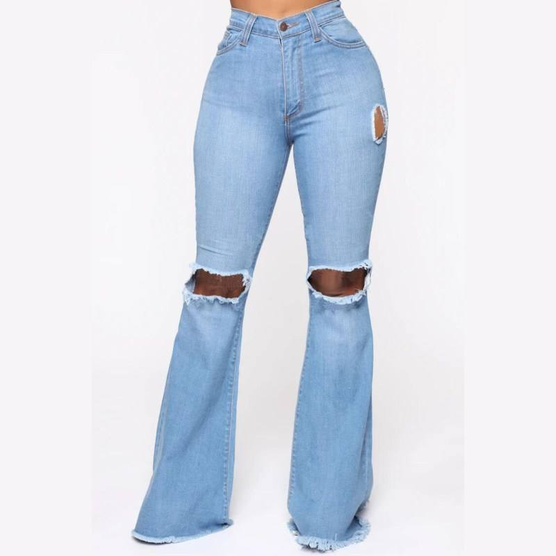 Hot sale women denim jeans pants factory wholesale price high waist wide leg women ripped jeans