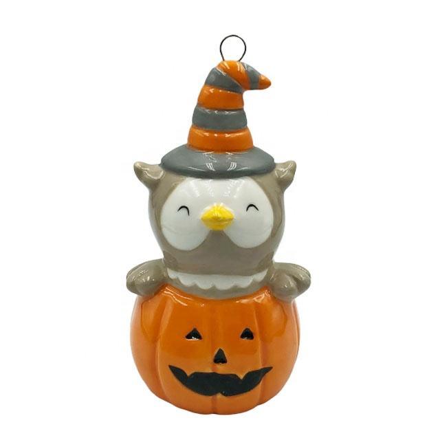 Halloween de cerámica para el hogar, decoración de fiesta de la forma del buho colgante