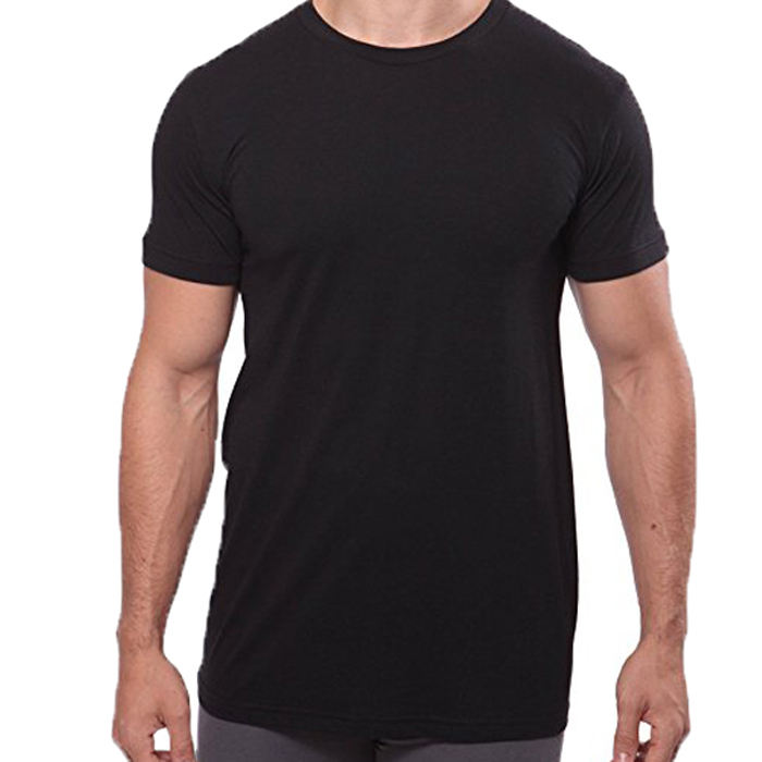 custom men's long line stretch bamboo slim fit o neck t shirt
