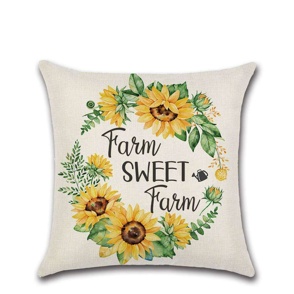 Sunflower Farmhouse Throw Pillows Covers Case Cotton Linen Square Decorative Car Bicycle Vase Pattern Cushion Covers