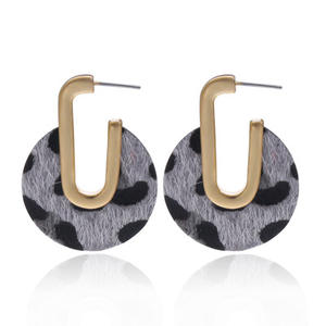 VRIUA New Fashion Jewelry Plush Hollow Blue Leopard Print U Hook Pendant Earrings For Women