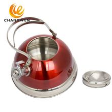 Red Color printing metal non-electric heating whistling kettle pots fast boiling teapot for Amazon