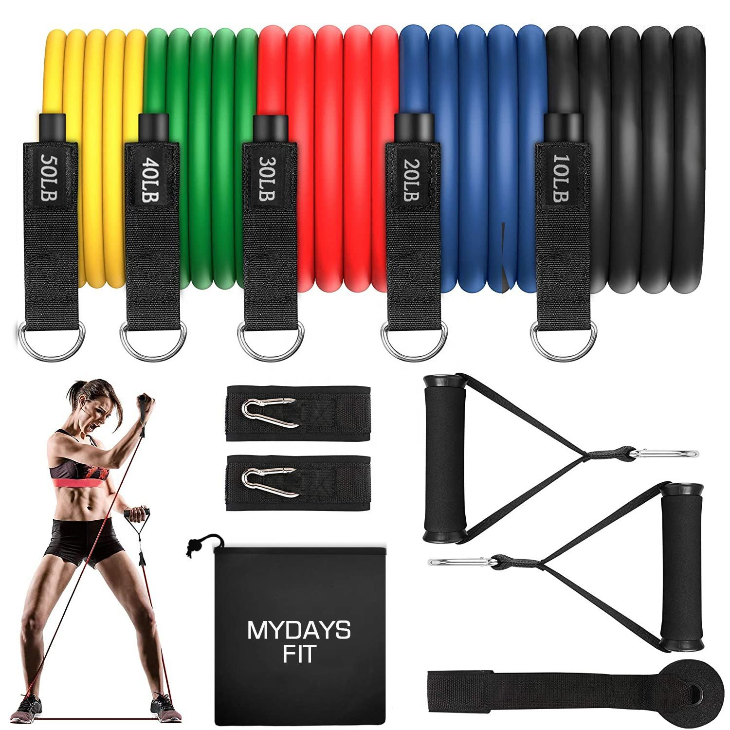Fitness Yoga Home Gym Equipment Workout Stackable Upに150lb 11個Exercise Resistance Tubes Bands SetとDoor Anchor Handles