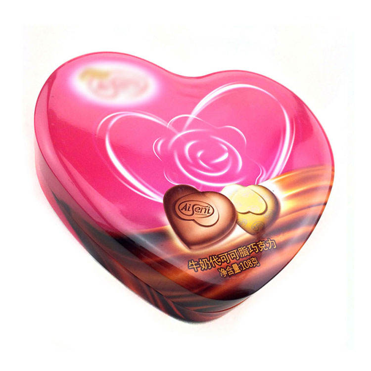 Best-selling Pink Irregular Heart-shaped Candy Tin Box 108 g Capacity Candy Tin Box Irregular Heart-shaped Candy Tin Box