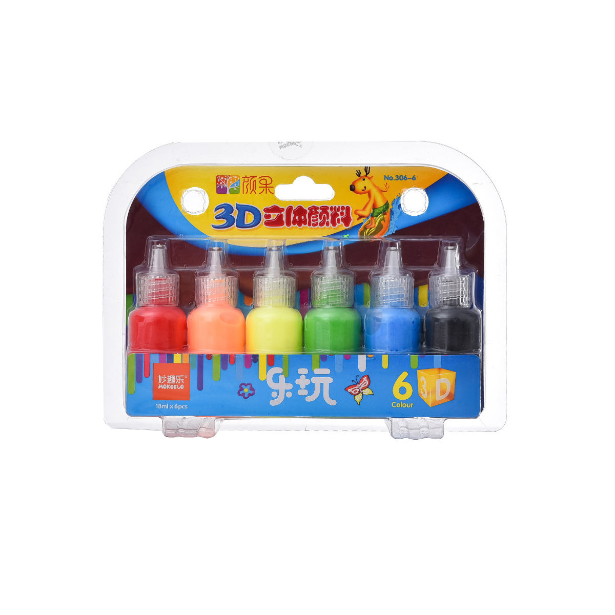 Mokeelo 306/set - 6/12 colours non-toxic safe kids children DIY glass painting art 3D paint art creative solid painting pigment