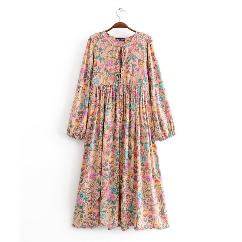 New floral printing long sleeve pink color women rayon casual boho dress with tassels