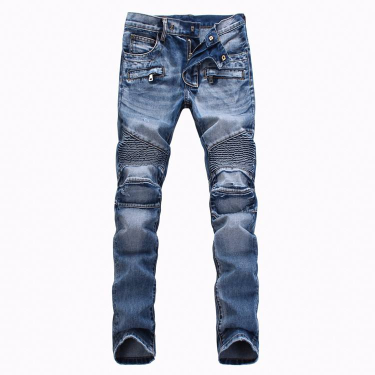 korean jeans type streetwear men gender jeans pants blue wash denim biker motor jeans