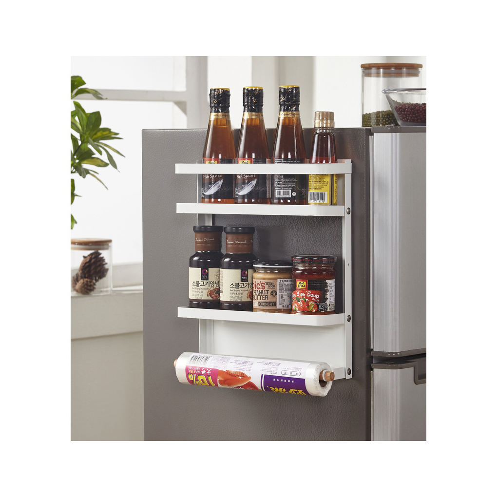 kitchen refrigerator storage rack metal foldable magnetic organizers with wood for tissue seasoning holders spice holder
