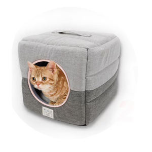 Durable 3 Way Use Hut Puppy Dog Cave Bed, Sponge Condos Sofa Foldable Cat Bed Cave