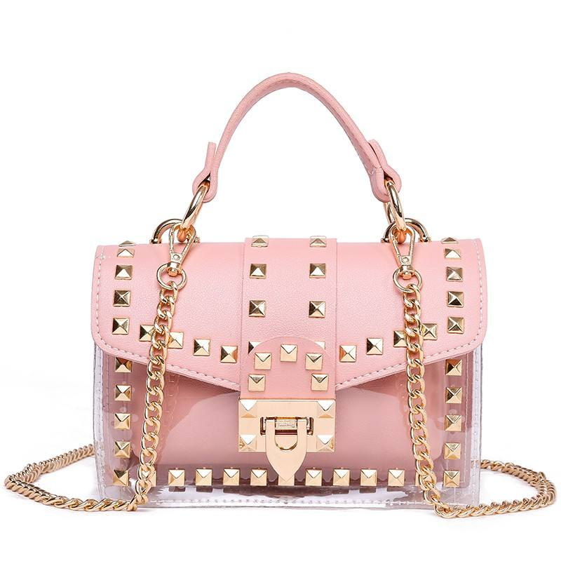 Fashion Messenger Bag Chain Female Rivets Transparent Square Pvc Handbag Clear Jelly Bag Shoulder Bag