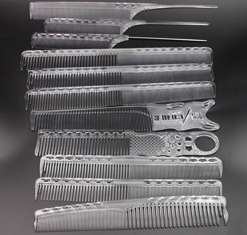Y6 Series 12 Sizes Factory Direct Sale ABS Transparent Comb Antistatic Cutting Comb Hair With Pin Tail