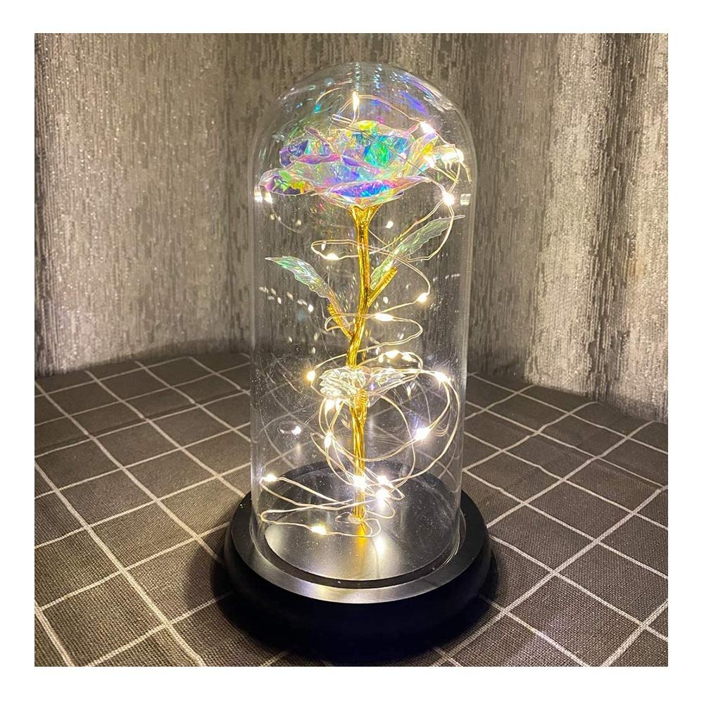 wholesale custom hot selling LED hand blown Roses Flower glowing bell jars glass domes with wood base