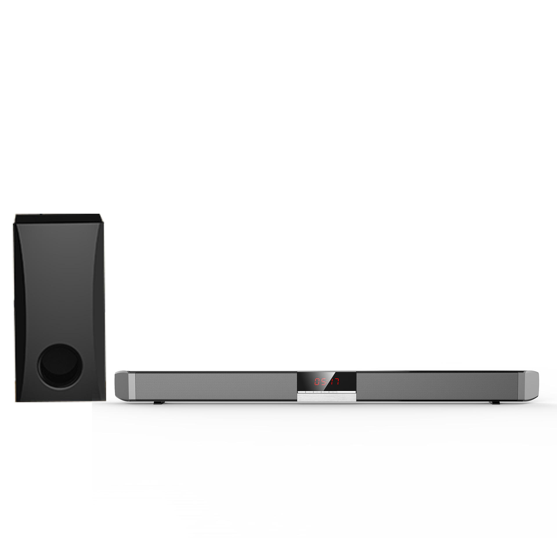 samtromic 2.1ch soundbar speaker with wired subwoofer, 37 inches tv surround sound bar home theatre system