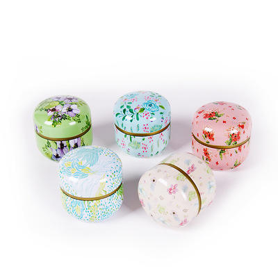 P213 Canister iron box with Japanese flower tea small canister general tinplate household sealed tea tin box tea can
