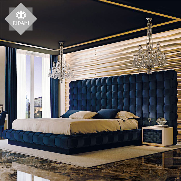 Luxury design ALI bedroom furniture blue velvet bed fabric king size wooden bed unique shape button tufted double sheet bed