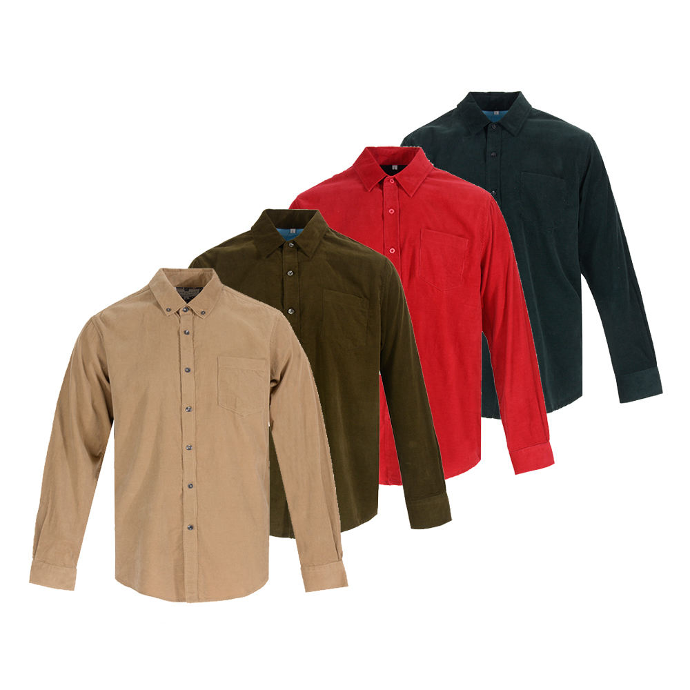Men Adult Shirt New Look Eco Friendly Fancy Corduroy 100% Men Cotton New Model Adult Button Up Long Sleeve Shirts Man