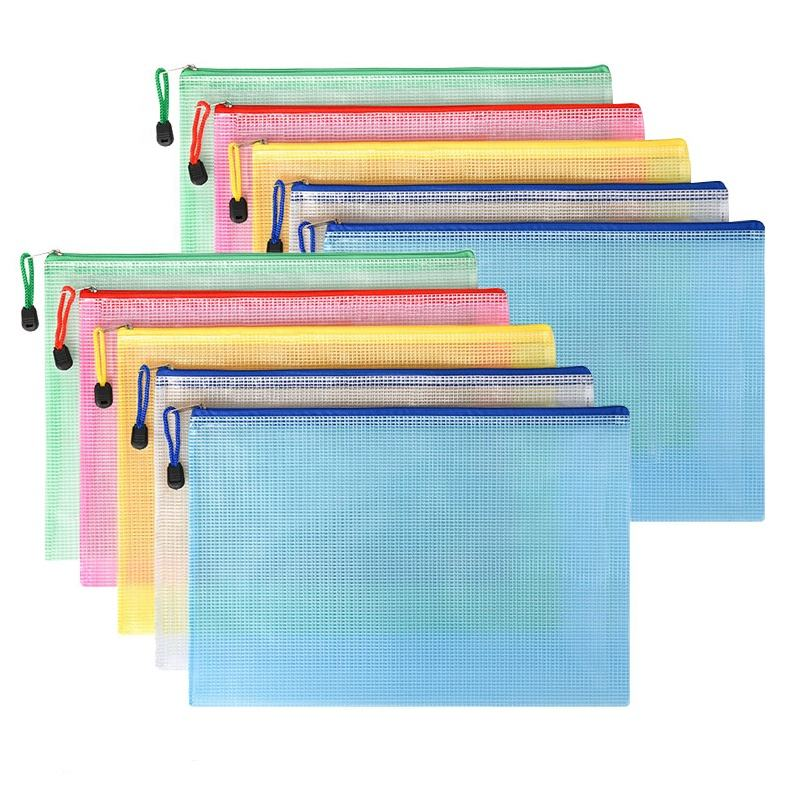A4 office file folder zip lock mesh color package clear PVC document bag