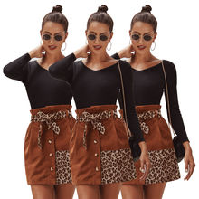 D95689 2021 new arrivals women clothes leopard print patchwork elegant casual stylish sexy club mini dresses