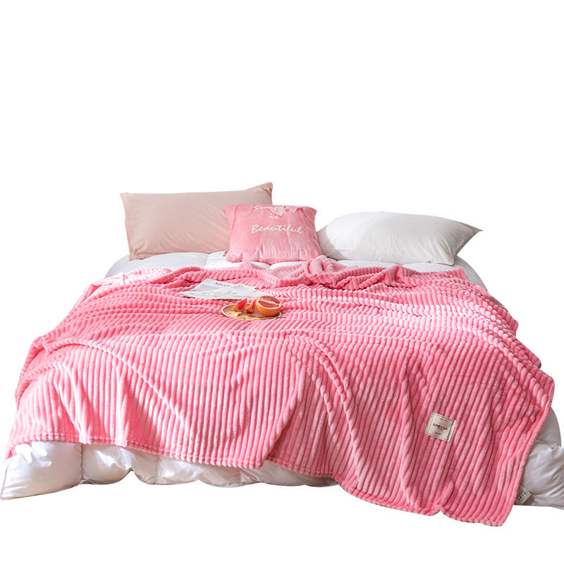 Wholesale Warm Fluffy Winter Sherpa Blanket Striped Sustainable Pink Fleece Throw Blanket For Bed