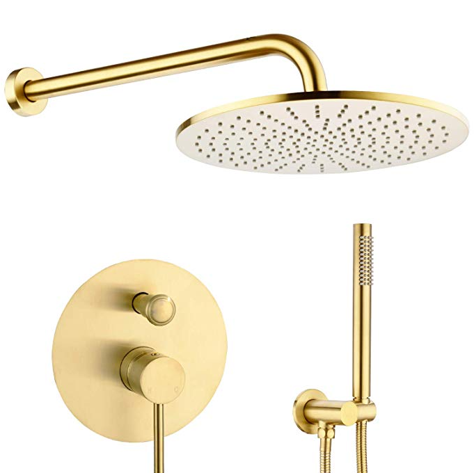 Round Bathroom Luxury Rain Mixer Set Wall Mounted Rainfall Shower Head System Brushed Gold Faucet Rough-in Valve Body and Trim